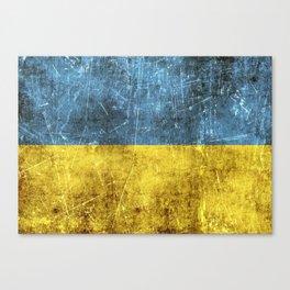 Vintage Aged and Scratched Ukrainian Flag Canvas Print