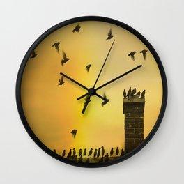 Rooftop Birds Wall Clock