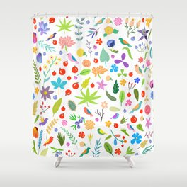 Leaves, berries, birds and flowers Shower Curtain