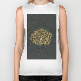 Golden Rose on Textured Canvas Biker Tank
