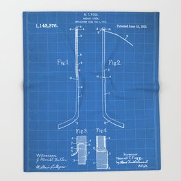Ice Hockey Stick Patent - Ice Hockey Art - Blueprint Throw Blanket