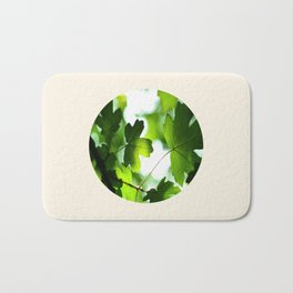 Green Baby Maple Leaves Round Photo Bath Mat