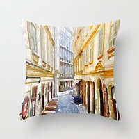 vienna Throw Pillows featuring vienna, watercolors by MehrFarbeimLeben