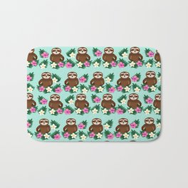 Sloth and Hibiscus Bath Mat