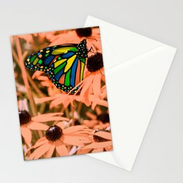 Surreal Monarch Butterfly on Coral Flowers Stationery Cards