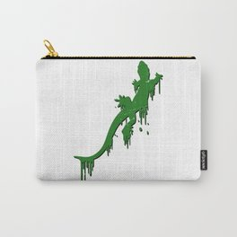 Distressed Green Salamander With Paint Drip Carry-All Pouch