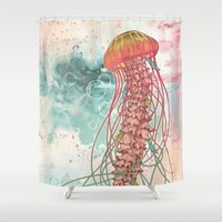 rose Shower Curtains featuring Jellyfish by Mat Miller