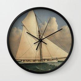 Vintage Boston Yacht - Puritan - Illustration (1885) Wall Clock