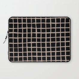 Strokes Grid - Nude on Black Laptop Sleeve