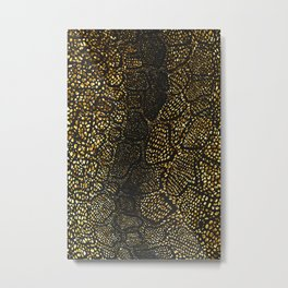 Black Gold Snake Skin Metal Print