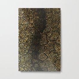 Black Gold Snake Skin Metal Print