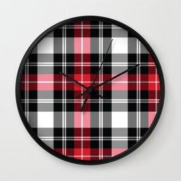 Red, Black, White, Tartan Plaid Pattern Wall Clock