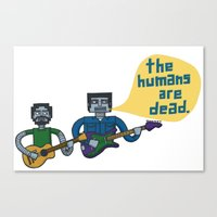 flight of the conchords Canvas Prints featuring Conchords Robots by Annie Dwyer Internicola