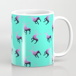Pink elk silhouettes against turquoise green background pattern design Coffee Mug