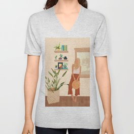 Tables and chairs worn by all of the dust Unisex V-Neck