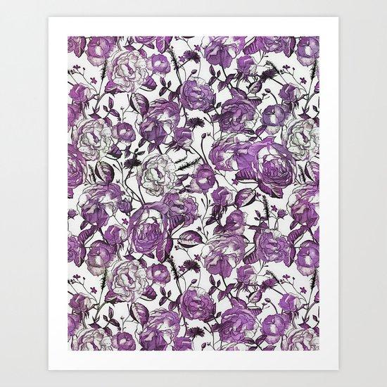 Purple Vintage Retro Flower Pattern Art Print