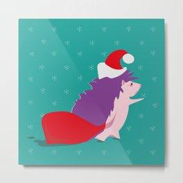 Illustration of a hedgehog with a Santa hat bringing Christmas Santa sack, in an abstract winter bac Metal Print