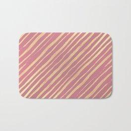 Pink Passion Gold Stripes Bath Mat