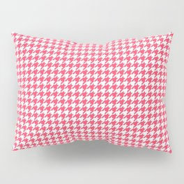 Red Scarlet Houndstooth Pattern Pillow Sham