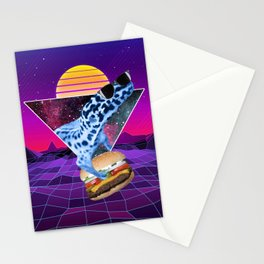 Aesthetic Synthwave Leopard Gecko Burger Stationery Cards