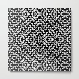 Bold white on black squiggle tiles, abstract shapes and lines, tribal and ethno-inspired Metal Print