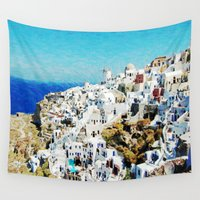 greece Wall Tapestries featuring Santorini, Greece  by Abby Gracey