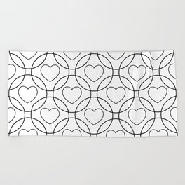 Decor with circles and hearts Beach Towel