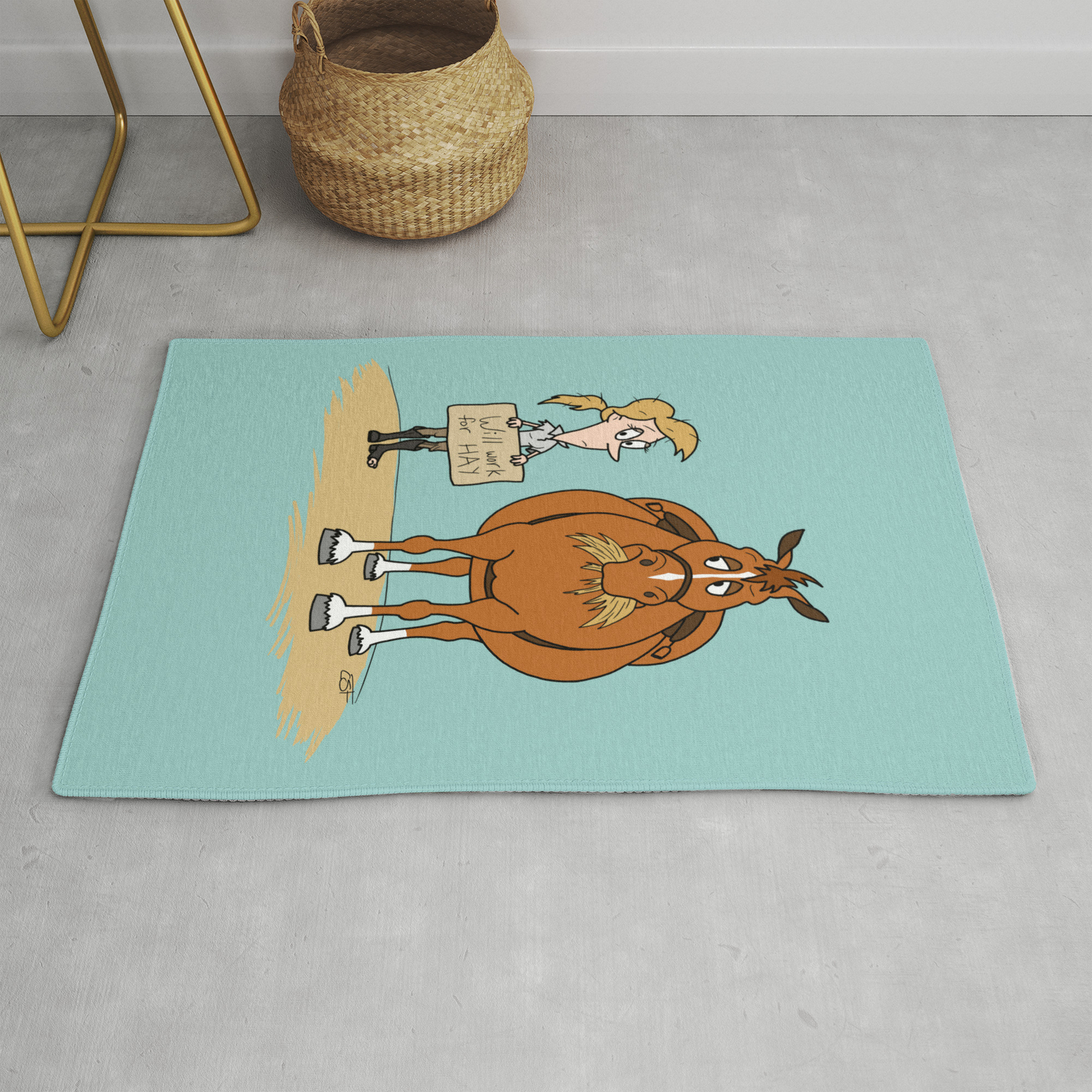 Funny Fat Horse Skinny Owner Will Work For Hay Rug By Csforest Society6
