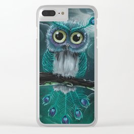 Peacock owl Clear iPhone Case