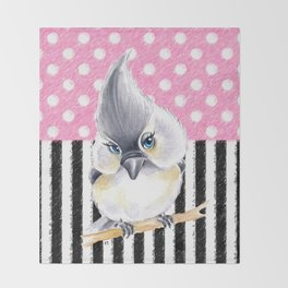 Cute Titmouse Pink Polka Throw Blanket