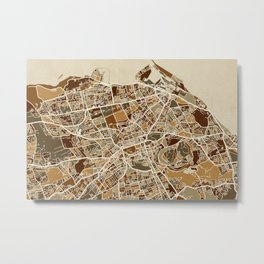 Edinburgh Street Map Metal Print