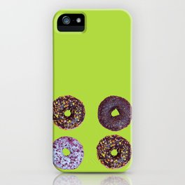 Top view to the donuts over green background iPhone Case