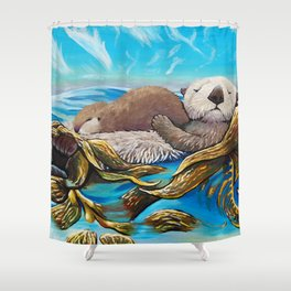 Sea Otter Mom & Pup Shower Curtain