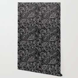 Classic Black and White Paisley Wallpaper