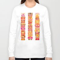 tiki Long Sleeve T-shirts featuring Tiki Totems – Fiery Palette by Cat Coquillette
