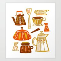 mid century Art Prints featuring Mid Century Modern Kitchen by Van Huynh