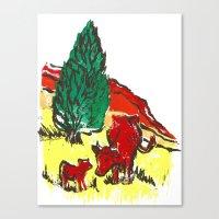 Big moo, wee moo (colored version) Canvas Print