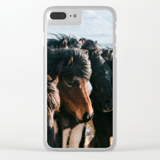 Horses in Iceland - Wildlife animals Clear iPhone Case