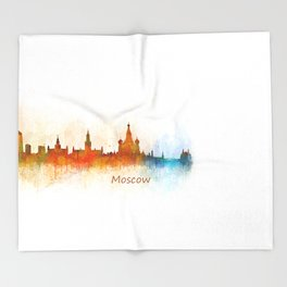 Moscow City Skyline art HQ v3 Throw Blanket