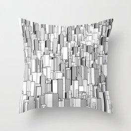 Tall city B&W / Lineart city pattern Throw Pillow