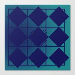 Blue,Diamond Shapes,Square Canvas Print