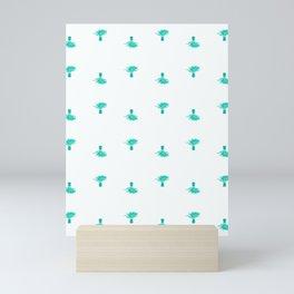 Small mint palm trees on white Mini Art Print