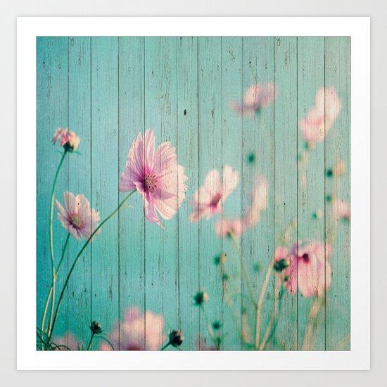 Sweet Flowers on Wood 07 Art Print