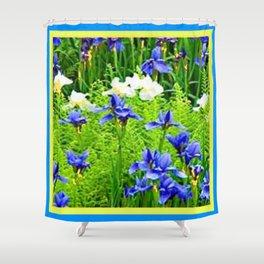 WHITE-BLUE IRIS & FERNS GARDEN Shower Curtain