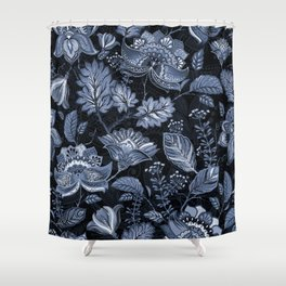 Blooms in the blue night Shower Curtain