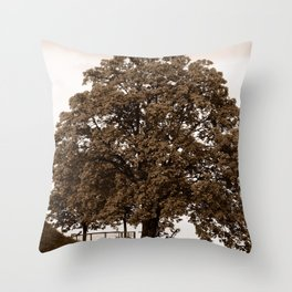 Majestic Tree - Sepia Throw Pillow