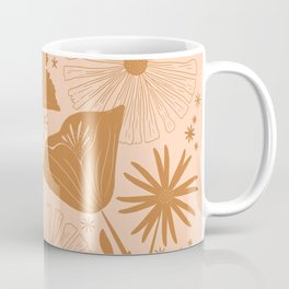 California Poppy Wildflowers Boho Vintage Florals Blush And Golden Mustard Coffee Mug