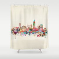 lincoln Shower Curtains featuring Lincoln nebraska by bri.buckley