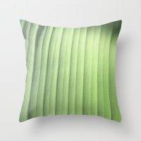 banana leaf Throw Pillows featuring Banana Leaf Close by Glenn Designs