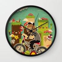 cycling Wall Clocks featuring Mr.Bongo Cycling by Gunawan Lo